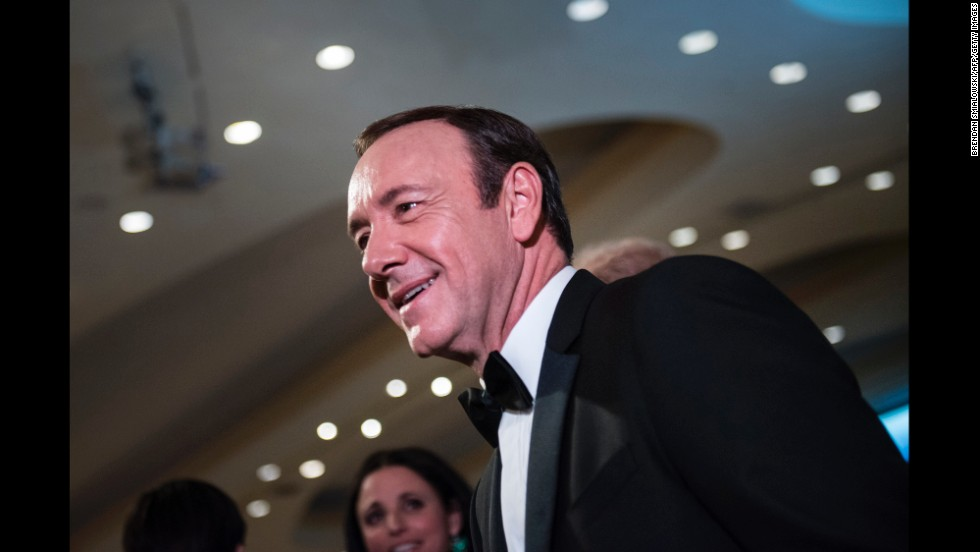 Actor Kevin Spacey mingles with other guests during the event.