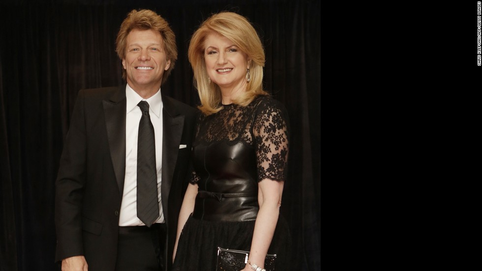 Singer Jon Bon Jovi and Arianna Huffington arrive on the red carpet.