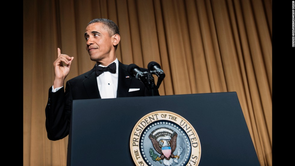 Obama gestures during his speech.