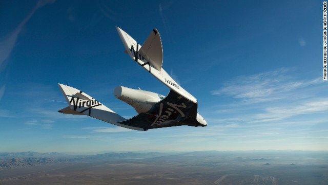 Virgin Galactic's SpaceShipTwo during a glide flight.