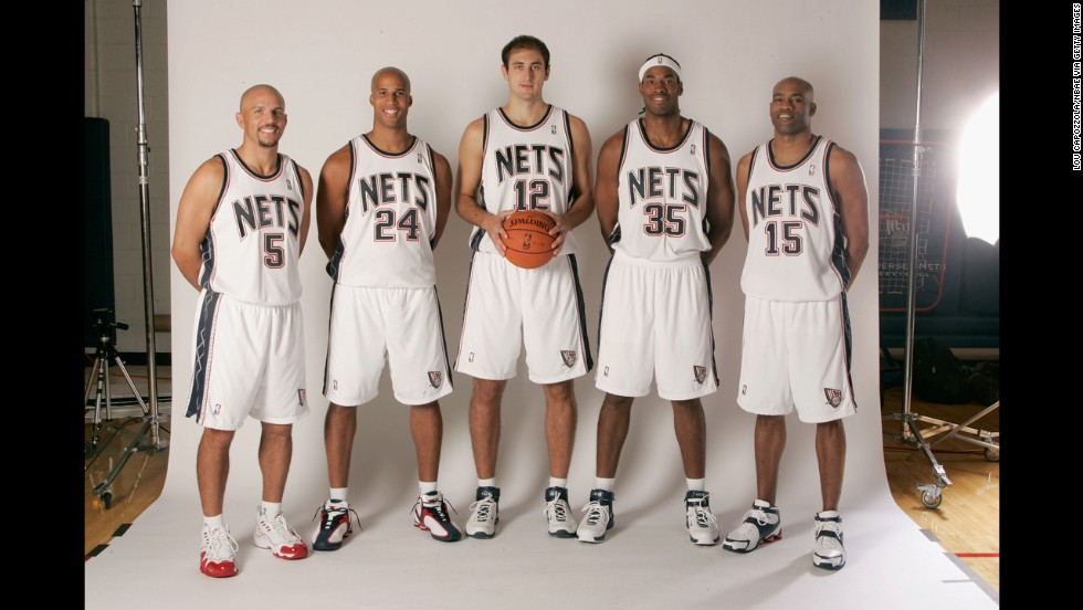 From left, Jason Kidd, Richard Jefferson, Nenad Krstic, Jason Collins and Vince Carter of the New Jersey Nets pose during Media Day in 2006.