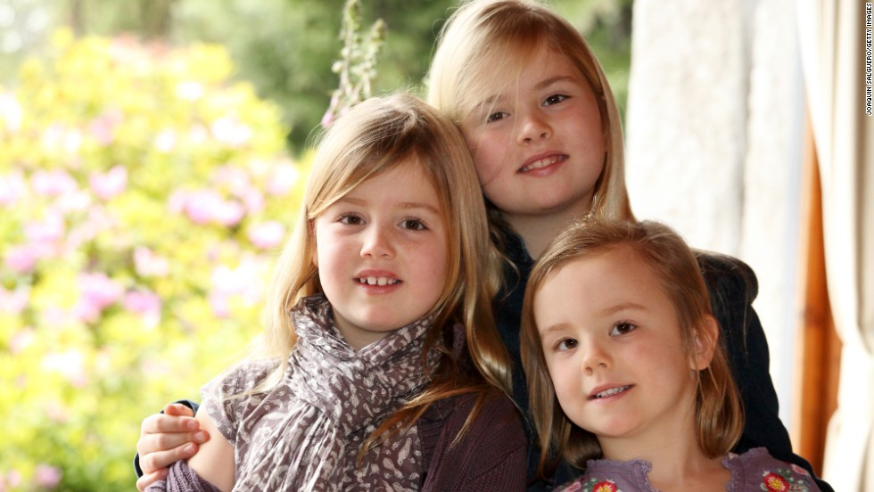 Princesses Alexia, Catharina-Amalia and Ariane pose for Christmas celebrations in 2012.