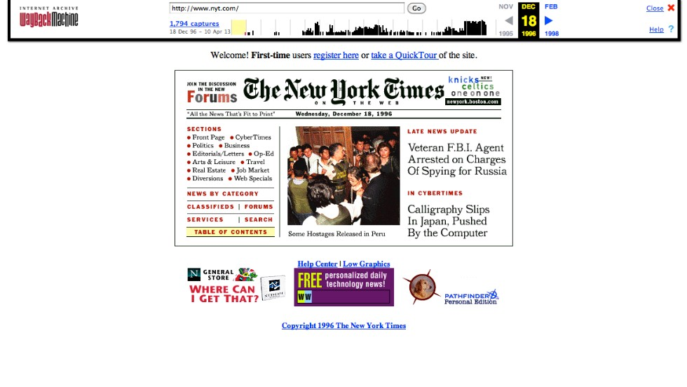 "The <a href=""http://nyt.com"" target=""_blank"">New York Times front page</a>, as it appeared in December 1996, is compact by modern Web design standards."
