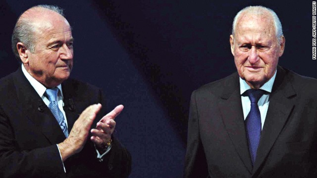 Sepp Blatter succeeded Joao Havelange (right) as president of football's governing body FIFA in 1998.