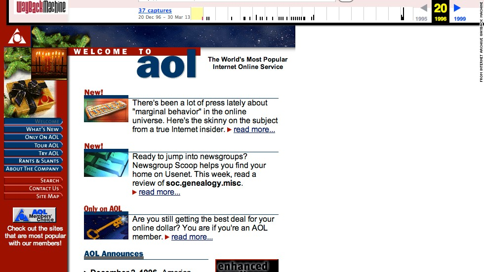 "Still getting CD-ROMs in the mail? Primary colors and an article on ""marginal behavior"" online were viewed by <a href=""http://aol.com"" target=""_blank"">aol.com</a> visitors in December 1996."