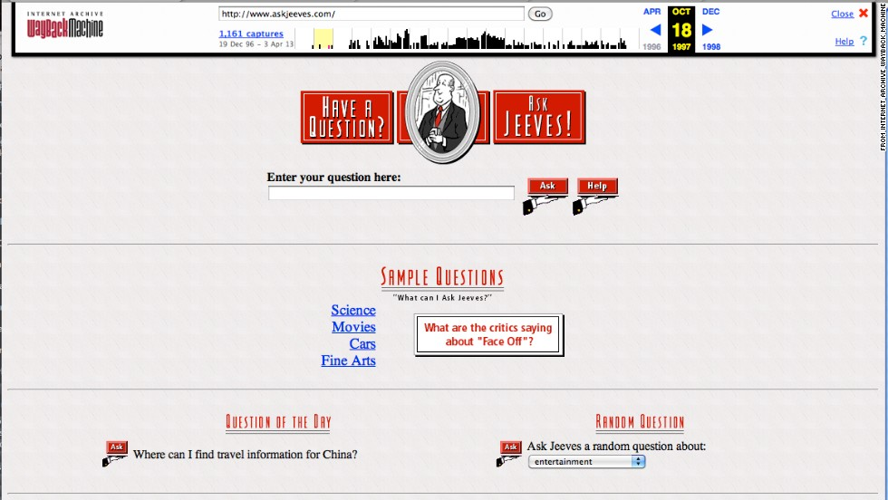 "Go ahead, ask the Internet a question. The <a href=""http://askjeeves.com"" target=""_blank"">askjeeves.com</a> site, shown in October 1997, boasted an online butler of sorts."