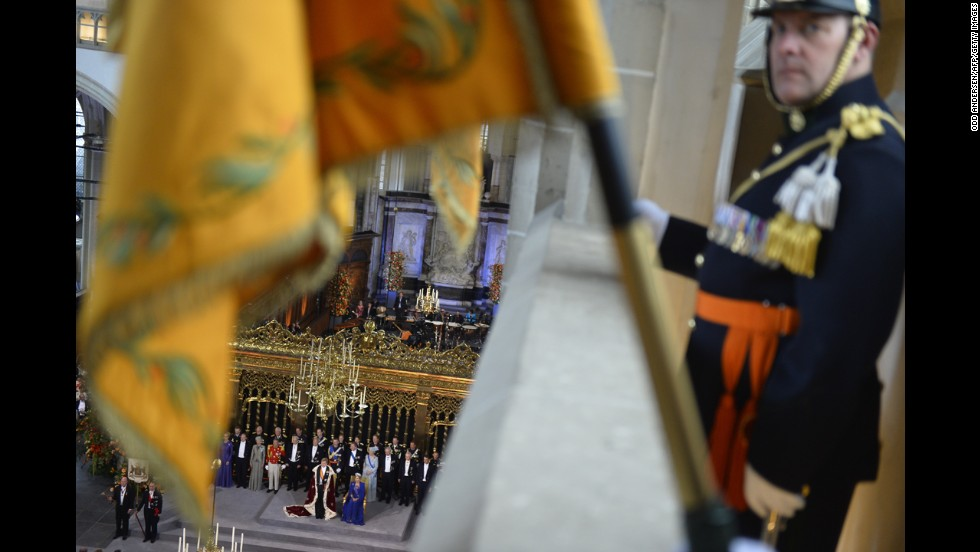 Dutch King Willem-Alexander, Queen Maxima and members of the royal household take part in the investiture ceremony.