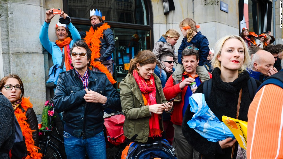The crowd watches investiture celebrations in Amsterdam.