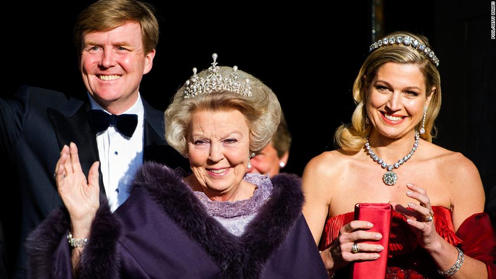 Willem-Alexander becomes King of the Netherlands on April 30 after the abdication of his mother, Beatrix, center. His wife, Queen Máxima, accompanies them to a dinner in Amsterdam before Beatrix officially steps down.