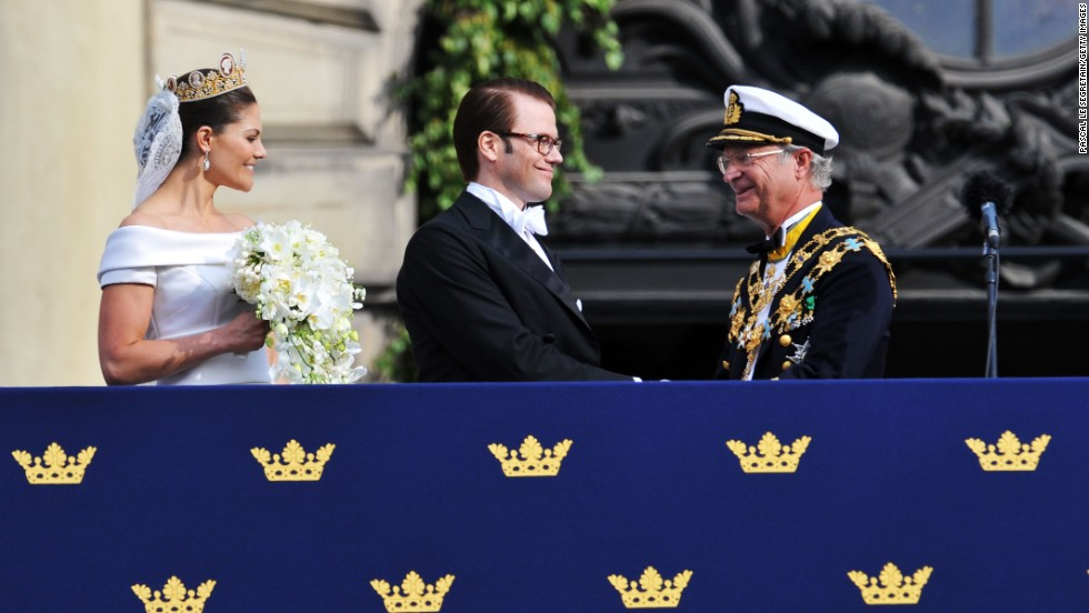 Prince Daniel, center, pictured with his wife Crown Princess Victoria, is the heir to King Carl Gustav of Sweden.