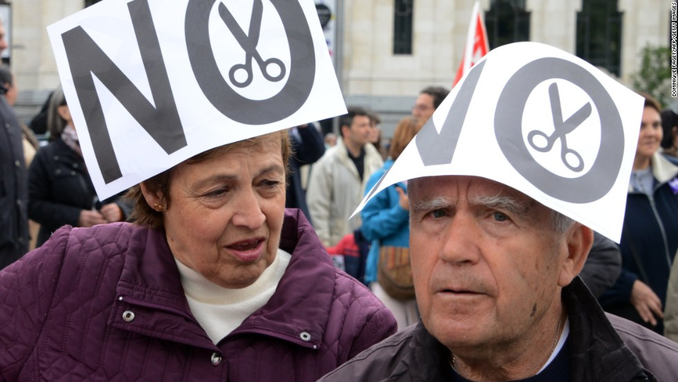 Demonstrators in Madrid take part in a Labor Day protest against the Spanish government's austerity policies.