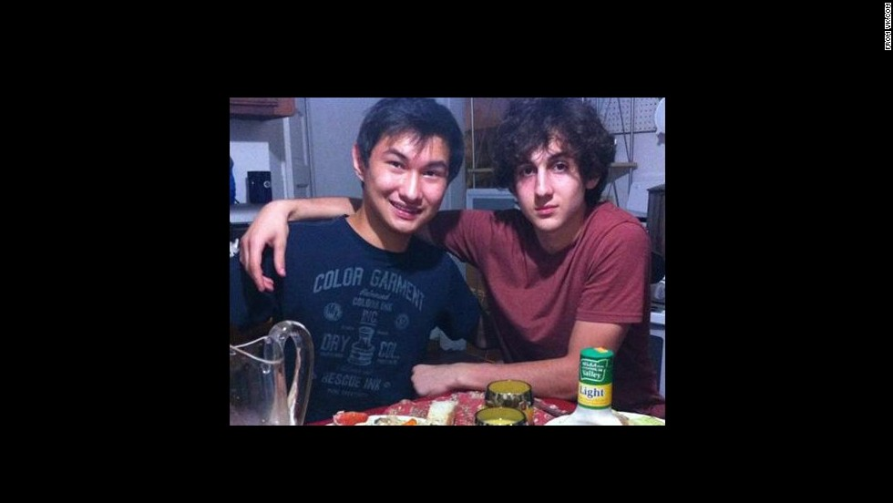 Dias Kadyrbayev, left, with Boston Marathon bombing suspect Dzhokhar Tsamaev in a picture taken from the social media site VK.com. Kadyrbayev is expected to plead guilty August 21 to charges in connection with removing a backpack and computer from Tsamaev's dorm room after the April 2013 bombing, according to a defense lawyer.