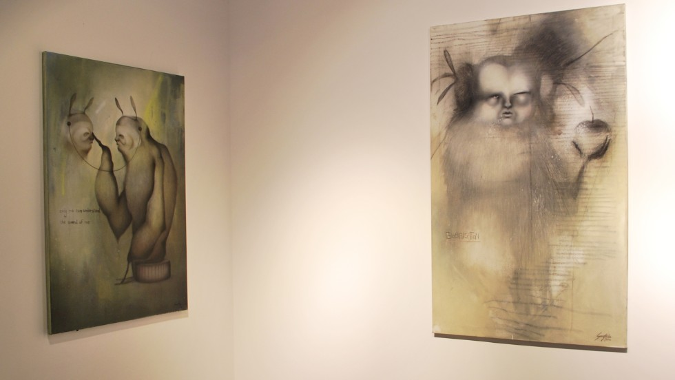 Athr Gallery, one of Saudi's first contemporary art institutions, is committed to showcasing the work of young Saudi artists. Above are paintings by Sara Abdu, who exhibited at Athr's Young Saudi Artist exhibition in 2012.