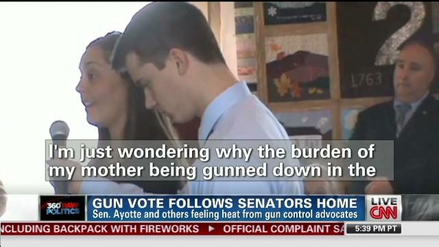 Gun vote follows senators home
