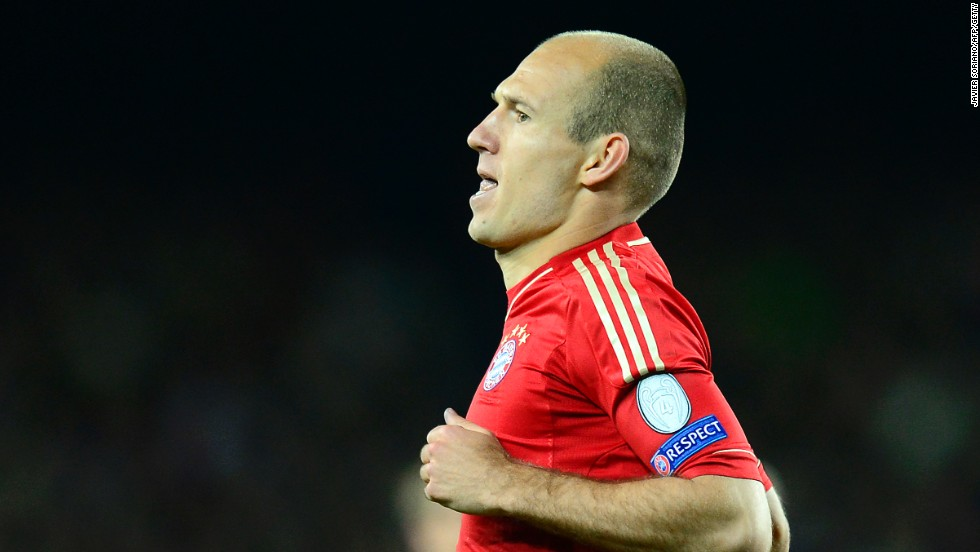 Robben wheels away after his superb opener for Bayern in the 3-0 second leg win over Barcelona.