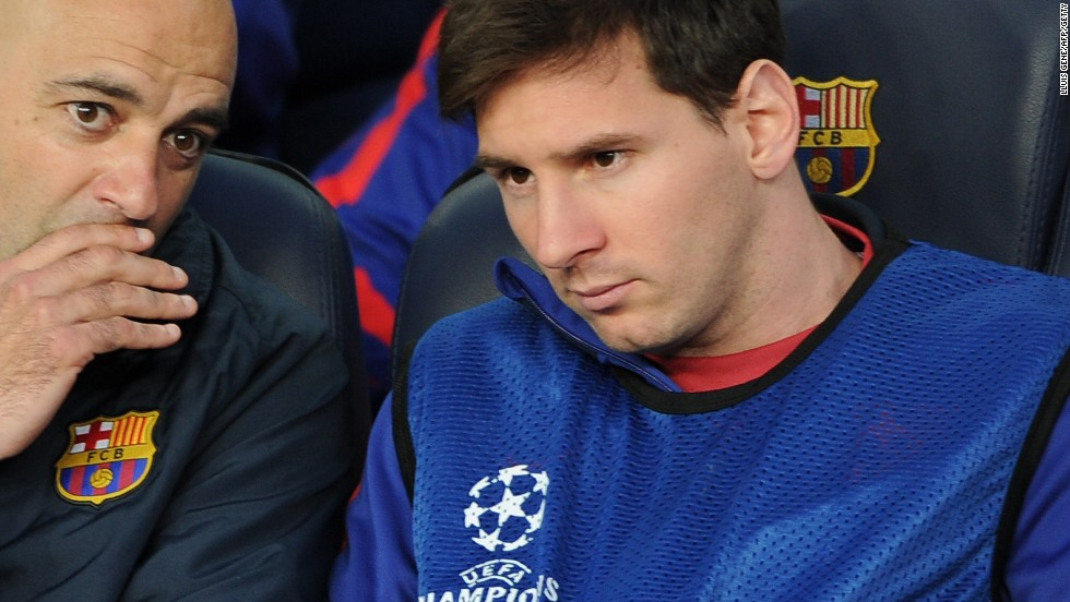 Lionel Messi sat on the bench throughout his side's crushing second leg defeat to Bayern Munich. He has been nursing a hamstring injury the last few weeks.