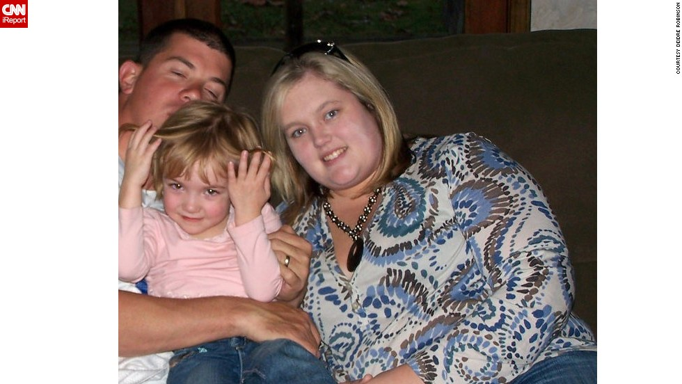 "This photo from 2008 is one of the few pictures that Robinson has of her and her family from before she started losing weight in 2009. ""I hated the way I looked in a picture,"" she said. ""When you look at yourself in the mirror when you're getting dressed, you see yourself differently. When you see yourself in a picture, that to me is when you see what you really look like."""
