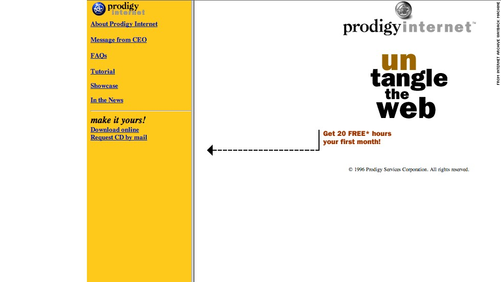"Untangle the Web! The Prodigy Internet website was calling itself ""the next generation online service"" when compared to its origins in Prodigy Classic. The site is shown as it appeared in October 1996. IBM, CBS and Sears jointly founded the Internet portal service that would later be known as Prodigy in 1984, predating the World Wide Web. SBC completely bought Prodigy in 2001, and the brand floundered in the years afterward."