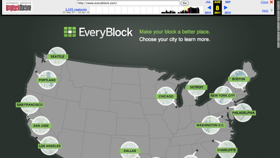 """<a href=""""http://everyblock.com/"""" target=""""_blank"""">EveryBlock</a>, shown in August 2011, was a hyperlocal portal for information on neighborhoods and city blocks. It was available in several cities. Launched in 2008 in Chicago by Adrian Holovaty, EveryBlock started as an exciting experiment with a two-year $1.1 million grant from the Knight Foundation. The company was acquired by MSNBC.com a year later, and in 2012 NBC News bought MSNBC.com. <a href=""""http://www.cnn.com/2013/02/07/tech/innovation/everyblock-closed"""">The site closed</a> on February 7, 2013."""