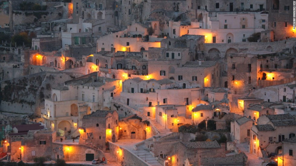 "Matera provided part of the set of Mel Gibson's ""The Passion of the Christ"" and comprises a town and 155 churches cut from the local rock. For centuries up to the 1950s, farmers lived and worked in these caves while bandits took refuge there from the authorities. Cars are banned."