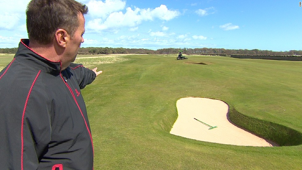 Muirfield course manager Colin Irvine shows the new bunker that has been dug out at the ninth hole.