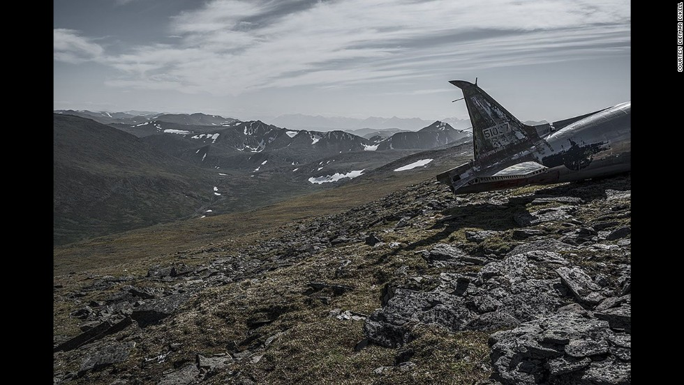 A Douglas C-47 rests on a rocky field in Canada's Yukon territory. The aircraft went down in 1950. Most of the airplanes he photographed made forced landings because of engine failure, Eckell says. In some cases, there were injuries.
