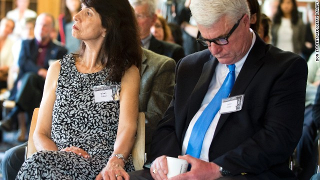 John and Diane Foley, parents of James Foley, attend a Free James Foley event on May 3 in Boston.