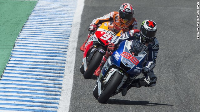 Yamaha's Jorge Lorenzo leads Honda rider Marc Marquez during the MotoGP of Spain at Jerez.
