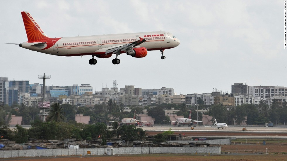 A file photo of an Air India aircraft preparing to land at the international airport in Mumbai.