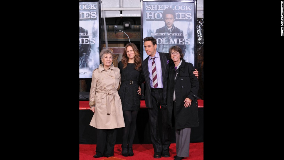 From left, Downey's mother, Elsie, wife Susan, Downey and his mother-in-law attend a hand- and footprint ceremony at Grauman's Chinese Theater in Hollywood on December 7, 2009.