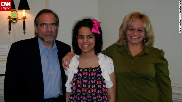 The dream team: Mano with her dad, a music professor, and mom, a counselor