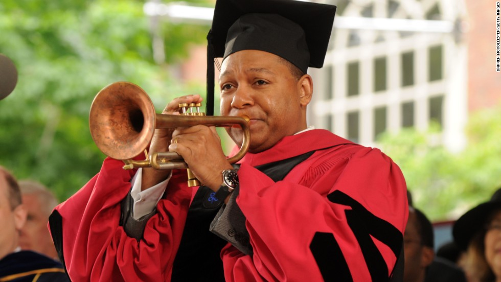 "Musician Wynton Marsalis will speak at the University of Vermont's commencement on May 19, when his son will graduate. Here, Marsalis played ""America the Beautiful"" during Harvard's commencement in 2009."