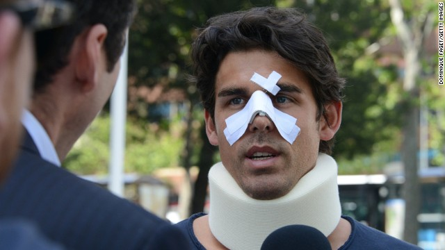 Thomas Drouet wears a neck brace and protection for his broken nose following Saturday's incident in Madrid.