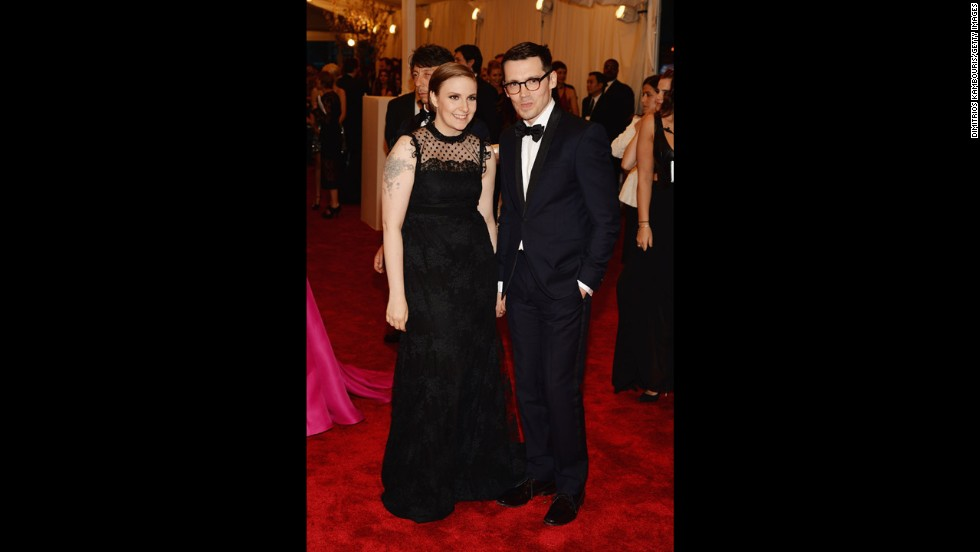 "Lena Dunham, star and creator of ""Girls,"" and designer Erdem Moralioglu attend the gala."