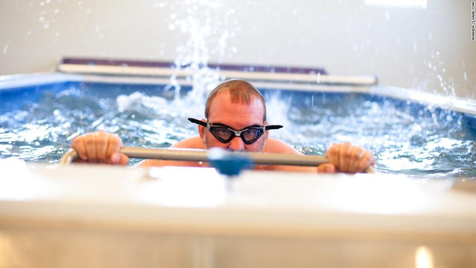Mantooth has his swim kick analyzed at the National Training Center.