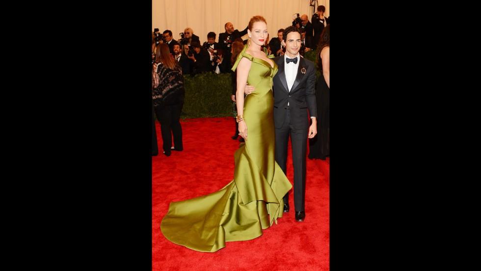 Uma Thurman and designer Zac Posen attend the gala.