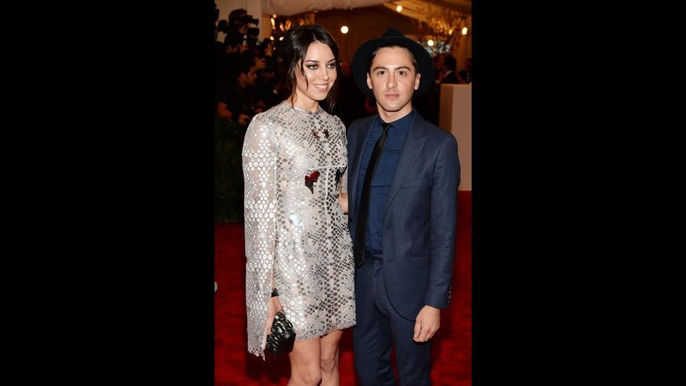 Aubrey Plaza and designer Eddie Borgo attend the gala.