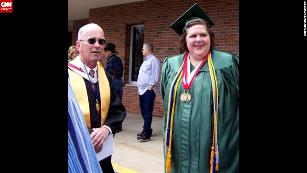 "When she graduated college as an nontraditional student, Borawski could barely walk across the stage to accept her diploma. Her doctor had diagnosed her with <a href=""http://www.mayoclinic.com/health/rheumatoid-arthritis/DS00020"" target=""_blank"">rheumatoid arthritis</a>. Her professor and friend Chuck Bowden, seen here, says he worried about how limited her life would be at this weight."