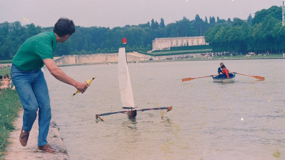 "As a youngster growing up in a children's home in France, Thebault dreamed of making a sail boat lift off. ""I felt like I was living in a jail and I wanted to fly,"" he said, pictured here with a model boat outside the Palace of Versailles in 1985."