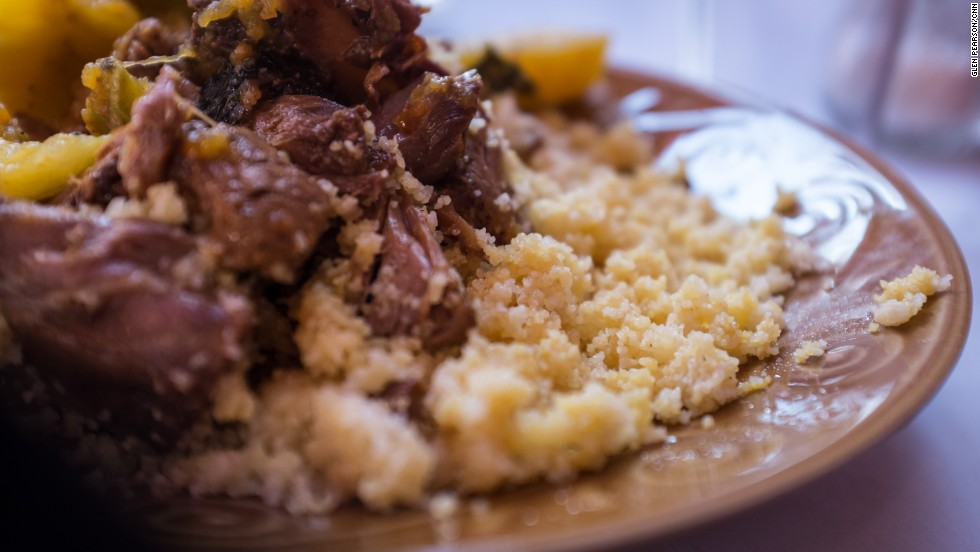 Proper couscous takes time to prepare, so in Morocco it's usually saved for Fridays, when families gather. It's pale, deliciously creamy and served with vegetables and/or meat or fish.