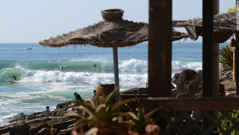Surfers compete during a local championship in Taghazout on December 30.