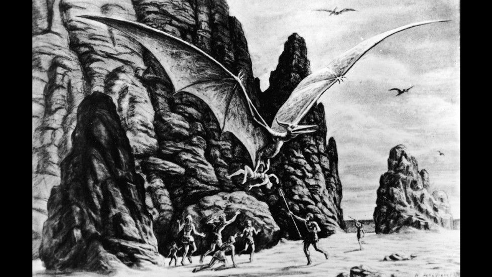 An illustration for an unidentified Harryhausen film circa 1965 shows a winged dinosaur dragging away a caveman while group of cavemen attacks with spears.