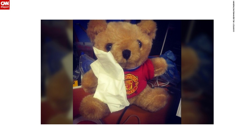 """Teddy is very sad,"" wrote Instagram user @ejgemmag In Manchester, England, of her toy after hearing news of United manager Alex Ferguson's retirement."
