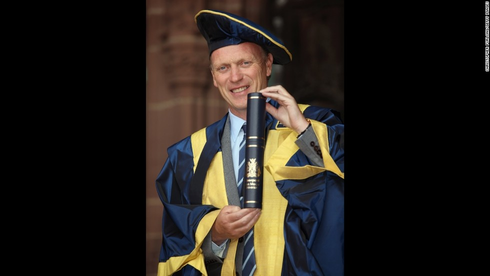 Moyes was made an Honorary Fellow for Outstanding Contributions to football and sportsmanship, by Liverpool John Moores' University during its annual graduation ceremony at the city's Anglican Cathedral in July 2011.