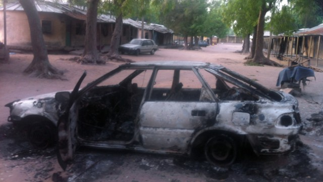 A vehicle burnt by the Islamist group Boko Haram is pictured in the northeastern town of Bama on Tuesday.