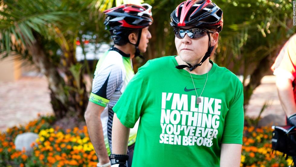 Miller prepares for the team's morning bike ride.