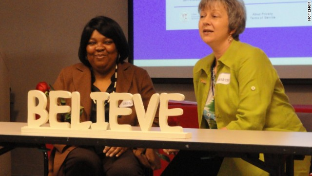 Debra Lee, left, and her peer counselor Mary Beth Walsh are both parents of children with autism.