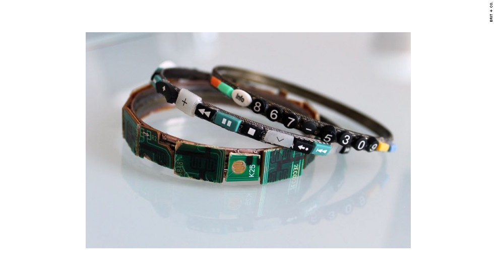 The tiny parts from the remotes have many uses. These are bracelets decorated with clipped buttons and circuit boards. The phone number on the side is 867-5309, referring to a famous song from the 1980s.
