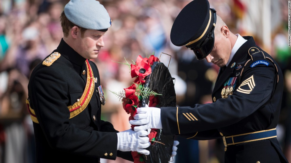 "Prince Harry participates in a wreath-laying ceremony at the Tomb of the Unknowns in Arlington National Cemetery on Friday, May 10. Washington was the first stop on his <a href=""http://www.cnn.com/2013/05/08/world/europe/prince-harry-united-states/index.html"">weeklong trip to the United States</a>."