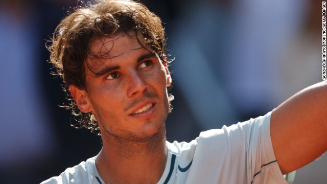 Rafael Nadal celebrates after seeing off compatriot David Ferrer in the quarterfinals of the Madrid Masters.